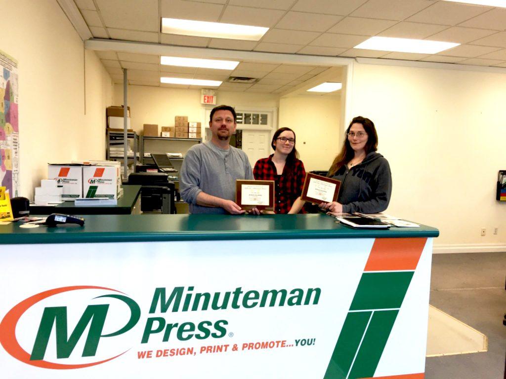 Meet the team of Minuteman Press in Guelph, Ontario, Canada - from left to right: Jeff Wereley, Heather Howitt, and Karen McArthur. http://www.minutemanpressfranchise.ca