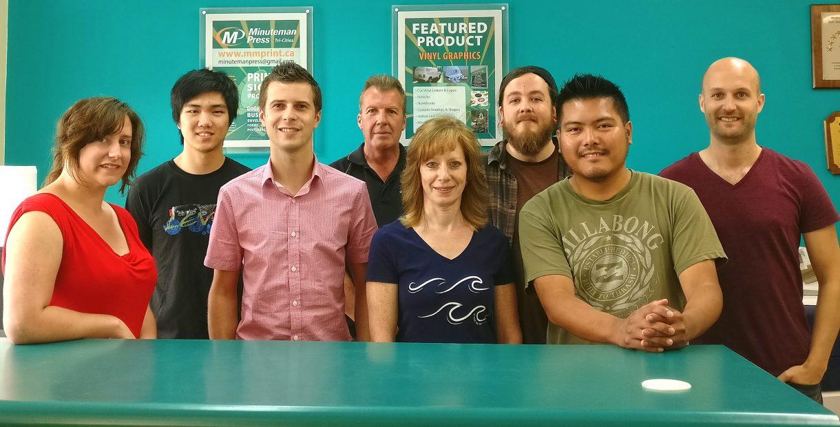 Meet the Team of Minuteman Press, Coquitlam, BC, Canada - L-R: Niyanna, Frank, Steve, Bob, Tracy, Ryan, Earlin, and Paddy. http://www.minutemanpressfranchise.ca