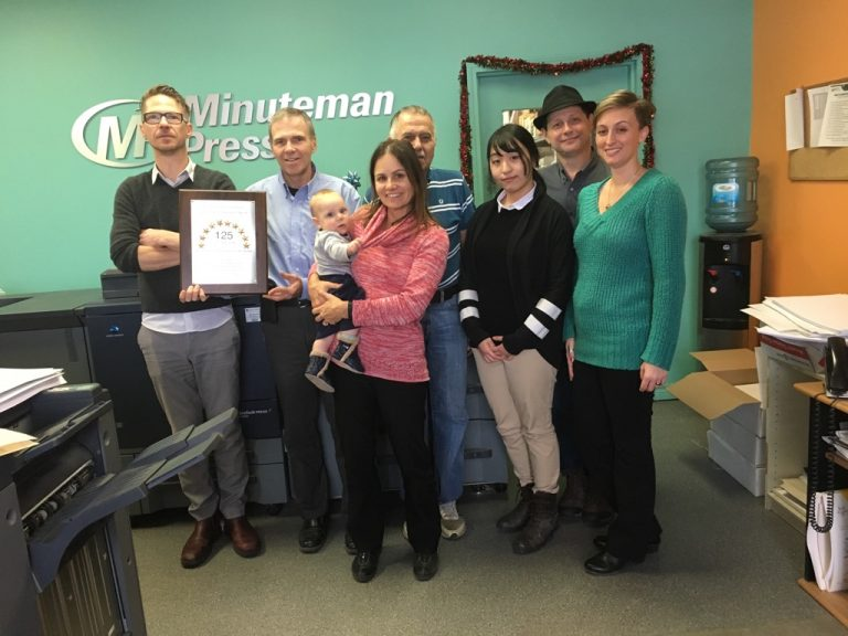 Meet the Team of Minuteman Press, Brampton, Ontario – L-R: Al, Bill Chapman (co-owner), Simon, Christiane (co-owner), Houshang, Sandra, Matthew, and Heather. http://www.minutemanpressfranchise.ca