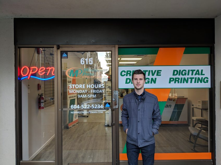 Minuteman Press franchise owner Steve Wilms outside his New Westminster, BC location. http://www.minutemanpressfranchise.ca